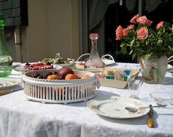 White earthenware fruit bowl