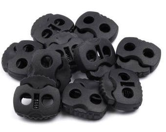 10 cord Stoppers with 2 holes in black 20x20mm