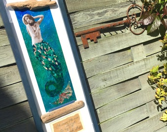 Mixed media framed mermaid collage, vintage photo, mermaid quote, mermaid's tail, beach decor, sea theme, driftwood, sea colours, picture
