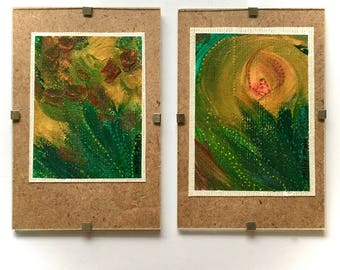 Original pair of floral acrylic paintings on canvas in A6 10x15cm clip frames, small space wall art, unique gift, home decor, housewarming