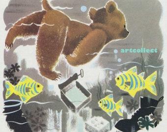 Vintage Image: Bear Swimming Under Water. Fish.