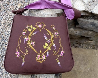 """Wisteria"" linen tote bag hand embroidery"