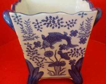 Vintage Blue and White floral planter with koi fish