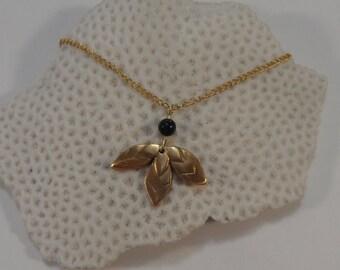 Bali necklace handmade in bronze and stones