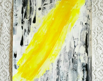 Electro #1 Original Abstract Painting NEON yellow lightning streak black white modern art bold expressionist wall art decor energy colorful