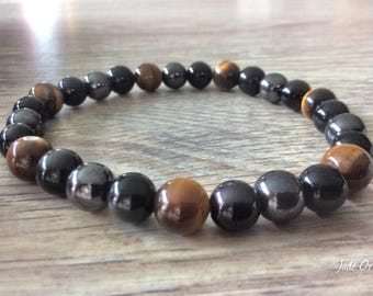 Meditation and protection bracelet made of obsidian, hematite and Tiger eye