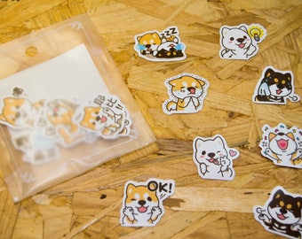 Stickers cute little shiba dogs