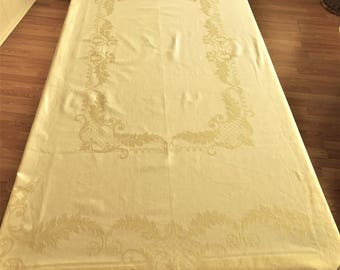 Vintage Yellow Damask Tablecloth, Cotton Damask Tablecloth, Yellow Tablecloth, Damask Yellow Tablecloth