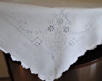 Vintage Luncheon Tablecloth,  White Linen Small Tablecloth/Table Topper Blue Embroidery ,Cottage Chic Tablecloth,