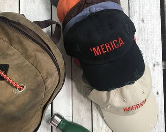 MERICA Distressed Embroidered Hat Baseball Cap Low Profile Dad Hat