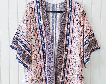 Kimono Jacket, cover up, Kimono Cardigan, Lightweight Jacket, Duster, Summer Coverup, Beach Coverup, Boho Kimono, Pom Pom, Festival