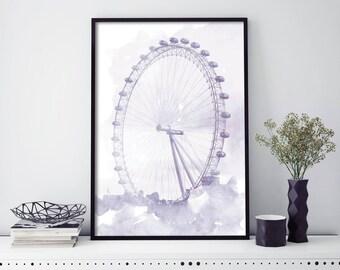 London Eye Watercolour Print Wall Art | 4x6 5x7 A4 A3 A2