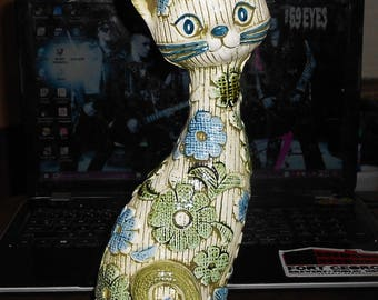 Vintage Inarco Floral Ceramic Cat Statue ~ Hand Painted Retro 60s 70s Mod Era ~ Made in Japan Japanese *Free Shipping*
