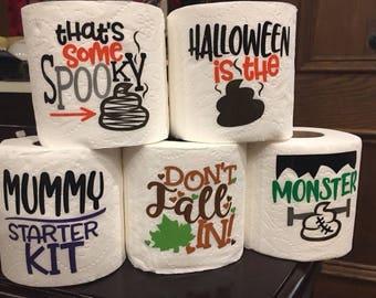 halloween bathroom decor. Fall and Halloween gag gift toilet paper  white elephant funny sayings bathroom Etsy