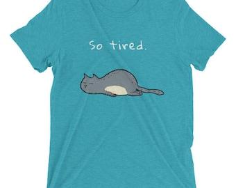 So Tired Grey Sleepy Kitty - Tri Blend Casual Unisex T-Shirt