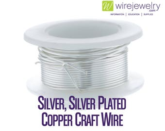 Silver, Silver Plated Copper Craft Wire, Round, Various Gauges and Lengths