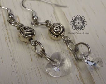 Hearts and Roses Drop Earrings