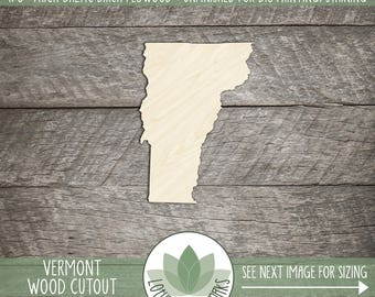 Vermont State Wood Cut Shape, Unfinished Wood Vermont Laser Cut Shape, DIY Craft Supply, Many Size Options, Great For Making Signs