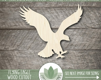 Wood Flying Eagle Cutout, Laser Cut Wooden Eagle, Unfished Wood Shapes For DIY Projects, Many Size Options Availalbe