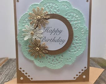Happy Birthday Card, Doilie Happy Birthday Card, Feminine Birthday Card, Birthday Card, Rustic Birthday Card, Shabby Chic Birthday Card