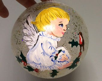 Personalised angel in loving memory bauble, christmas decoration, habdpainted bauble, white feathers