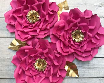 "3 - 18"" Large Paper Flowers - Wedding Decor, Bridal Shower, Nursery"