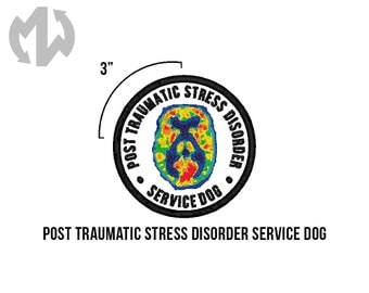 "PTSD Service Dog 3"" round Service Dog Patch"