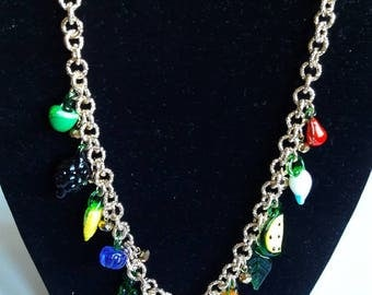 Golden aluminum necklace with Charms Berries in molten glass