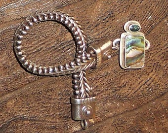 Tabra Sterling Silver Connecter Bracelet with a Topaz and Abalone Charm