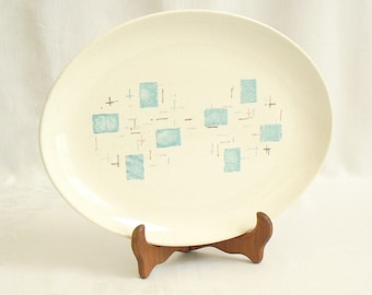 Vintage Vernon Ware Heavenly Days Serving Platter, Oval Plate, Blue on White, Blue Blocks, Brown Lines, Vernonware, Mid Century Modern Dish