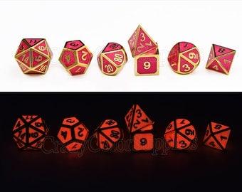 GLOW Dice Set~Dungeons and dragons Dice Set-Pink polyhedral dice set-d&d dice-Metal dnd dice-rpg dice set-Gaming Dice-D20 Dice Set-set of 7