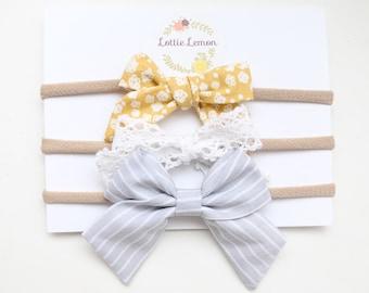 Harper bow trio/ baby headbands/ nylon baby headbands/ cute baby bows/ newborn baby headbands/ summer baby bows/ toddler bows