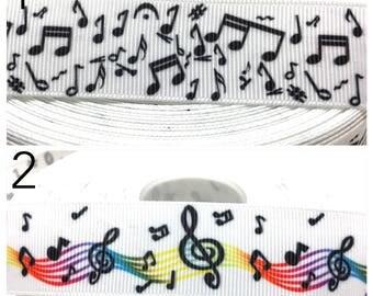 """1"""" Musical Notes Ribbon, Music Ribbon, Music Notes Ribbon, Music Grosgrain Ribbon, Music Notes Grosgrain Ribbon"""