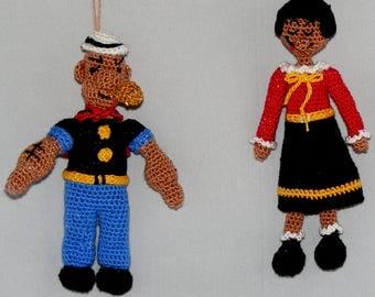 "Popeye the Sailor Man and Olive Oyl, Crochet Figures, 5"" Tall, Handmade"