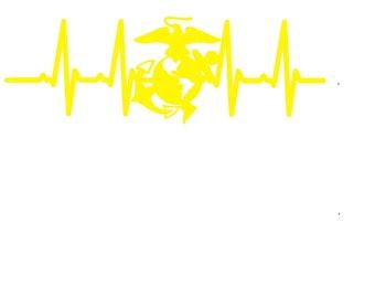 USMC - EKG Heartbeat - United States Marine Corps - Heartbeat and Medal