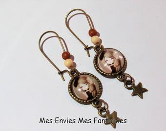 ღ girl earrings / fashion Beige and Brown Bronze ღ