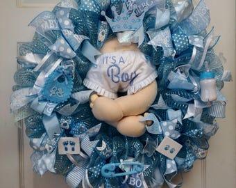 Baby Wreath, Baby Shower Wreath, Baby Boy Wreath, Boy Wreath, Baby Gift, Baby Door Hanger, Baby Door Decor, It's A Boy Wreath