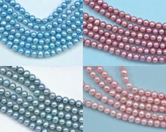 4-5mm Pink or Blue Round Potato Freshwater Pearls Beads AA
