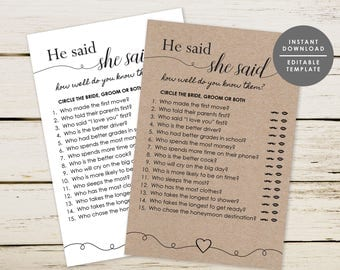 Printable Wedding Shower Game, Know The Couple Game, He Said She Said Game, Bridal Shower Game, Wedding Game, Instant Download, GD_WSG103
