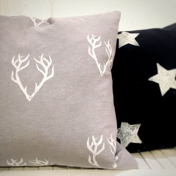 "ORGANIC accent pillow, throw pillow, 18"",  antlers, antler design, grey pillow, interior decor, seasonal decor, housewarming, gift idea"