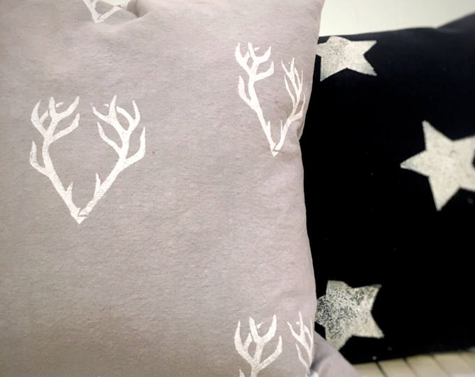 Hygge style ORGANIC accent pillow grey throw pillow with antlers design gray pillow gray decor, pillow for him, boys room decor, cabin decor