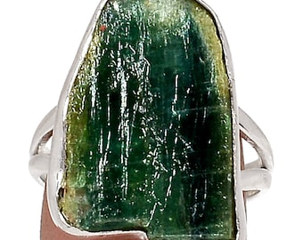 Rare blue & green kyanite 925 sterling silver ring - jewelry RG 18 - US 8 -.