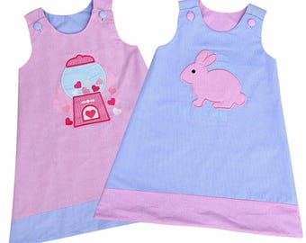 SALE!!! Girls Dress Valentine's Day and Easter Dress Reversible Gingham Pink and Blue