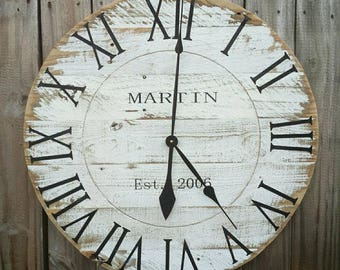 """CUSTOM 36"""" Large Rustic Farmhouse Reclaimed Pallet Wood Clock, Weathered Distressed White"""