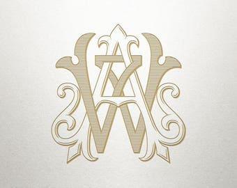 Wedding Initials Logo - AW WA - Wedding Initials - Vintage