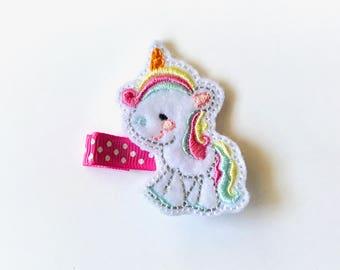 Unicorn Hair Clip/Hair Clip/Toddler Hair Clip/Baby Hair Clip/Baby Girl Hair Clip/Hair Clip/Girls Hair Clip/Infant Hair Clip/Feltie Hair Clip