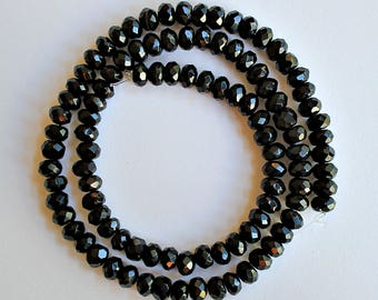 Natural Black Onyx Faceted Rondelle/ Wheel 6-6.25mm Loose Beads, Natural Gemstone Beads, Semi precious Gemstone Beads, Wholesale Beads