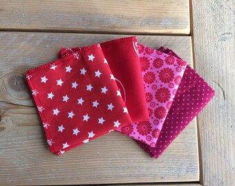 Handkerchief-Zero waste-handkerchief-washable-red-pink