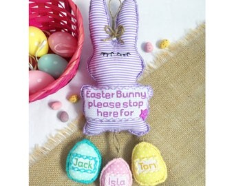 Hand sewn personalised bunting keepsakes by bakedbeanbaby easter gifts for kidseaster home fun decorbabys first easter bunny alternative negle Image collections