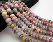Genuine Rhodonite Rondelle Gemstone Smooth Loose Beads 5*8/6*10mm Approximate 15.5 Inches per Strand.I-RHO-L-0134